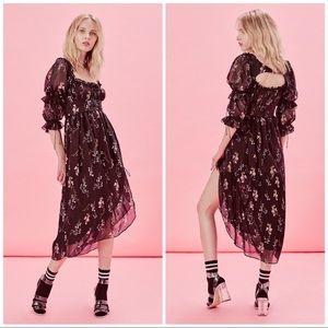 For Love & Lemons Nicola Midi Dress+Harness S NWT